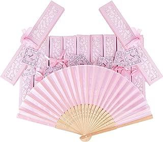 20pcs Abanico Rosa de Boda Plegable de Mano Tela Regalo Recuerdo Detalle para Invitados de Boda Fiesta o Baile Arte Madera con Caja Papel para Guardar Color Rosa
