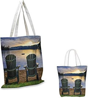 Seaside,Foldable Shopping Bag Reusable Two Wooden Chairs on Relaxing Lakeside at Sunset Algonquin Provincial Park Canada Travel Storage Handbag Navy Green 16.5