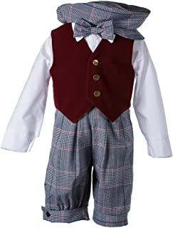 Baby-Boys Vintage Weave Knicker Outfit Holiday Burgundy Velvet Vest