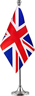 UK British Stand Base Flag Table Desk Flag ,Metal Stand and Base and Country Flag Banners,For Home Garden Office Decoration, Festival Celebrations.
