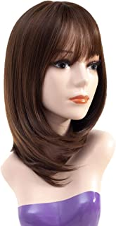 Queentas 14inch Shoulder Length Short Bob Wigs with Air Bangs Layered Synthetic Hair Wigs for White Women (Dark Brown #8/30)