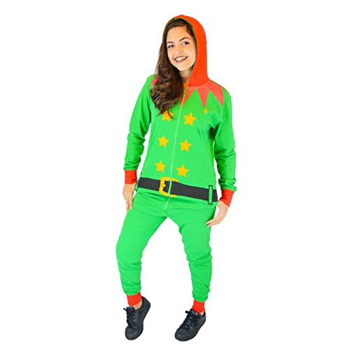 f728660c59 Unisex Christmas Green Elf Onesie Outfit Xmas Novelty Fancy Dress Costume