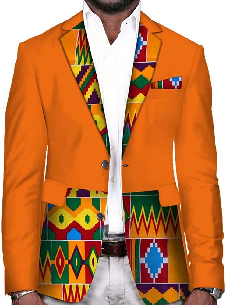 VLISE African Mens Suit Jacket Floral Printed Two Button Casual Blazer Sports Coat
