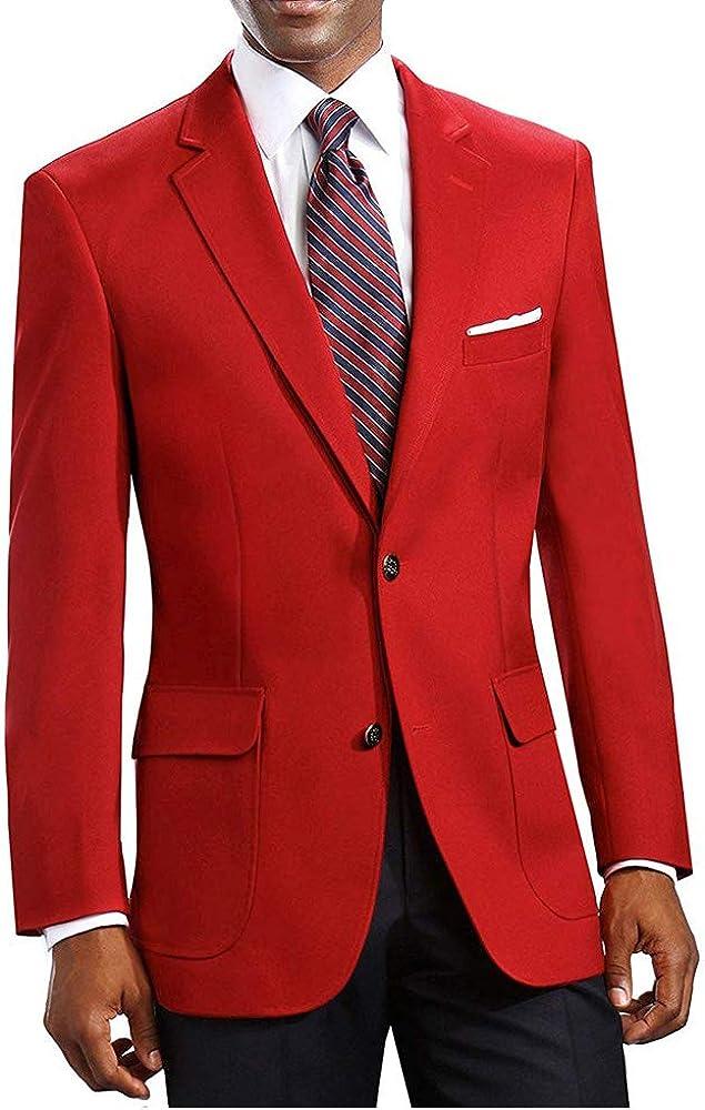 Men's Elegant Classic 2 Button Blazer (Red, 52 Long)