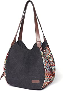 Shoulder Bag for Women, Brenice Bohemia Large Capacity Canvas Floral Handbag Totes Purses