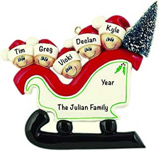 Sleigh with Tree Family of 5 Personalized Ornament - (Unique Christmas Tree Ornament - Classic Decor for A Holiday Party - Custom Decorations for Family Kids Baby Military Sports Or Pets)