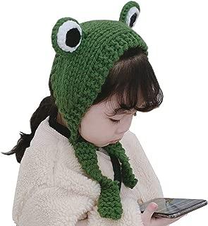 Xiang Ru Kids Earmuff Winter Knitted Earflap Warm Hat Cute Cartoon Big Eyes Headband Green