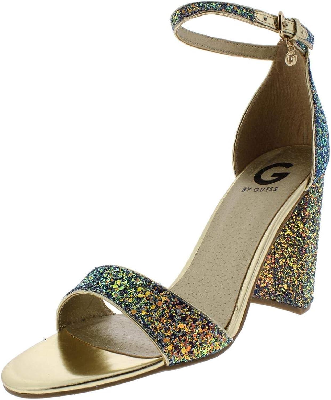 GUESS Womens Shantel 7 Glitter Ankle Strap Dress Sandals