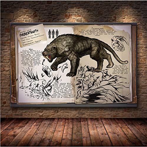 Fymmšshop Ark: Survival Evolved Poster Hit The New Spiel Leinwand Dekorative Tapete Wohnzimmer Decor 50 x 70 cm (P: 0766)