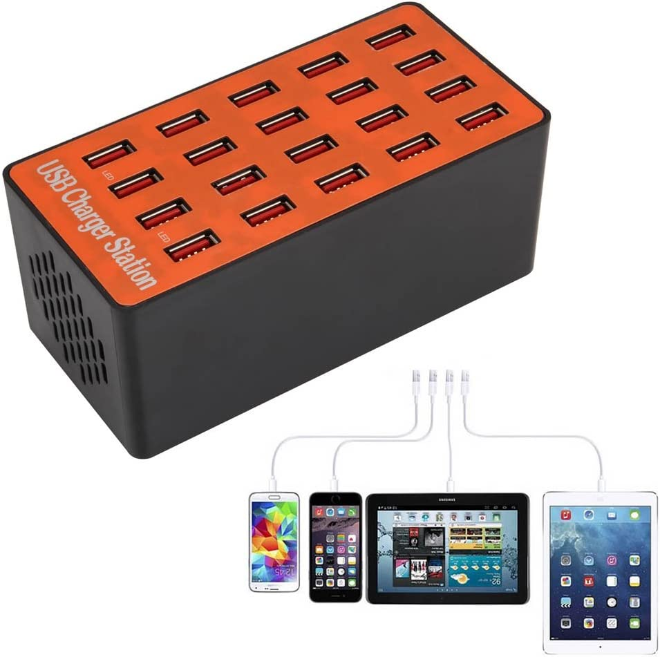 Usb Charger Station 90W Multi 20 Ports USB Hub Smart USB Charger High Power Fast Charging Station Fast Multi Charger Organizer Heavy Duty Dividers for Tablets Smartphones Electronics for Home Office