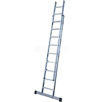 Escalera industrial de aluminio apoyo doble extensión manual 2 x 12 peldaños con barra estabilizadora serie excalibur: Amazon.es: Hogar