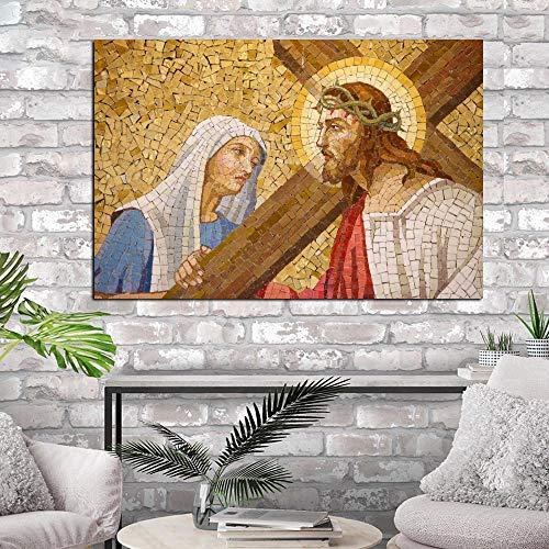 Puzzle 1000 Piezas Retrato Abstracto de Jesús Puzzle 1000 Piezas Adultos Gran Ocio vacacional, Juegos interactivos familiares50x75cm(20x30inch)