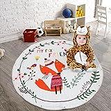 GWELL Kinder Aufräumsack Cartoon Spielmatte Spieldecke Spielzeug Speicher Tasche Kinderteppich Sterne Aufbewahrungsbeutel für Kinderzimmer 145cm Fuchs-2