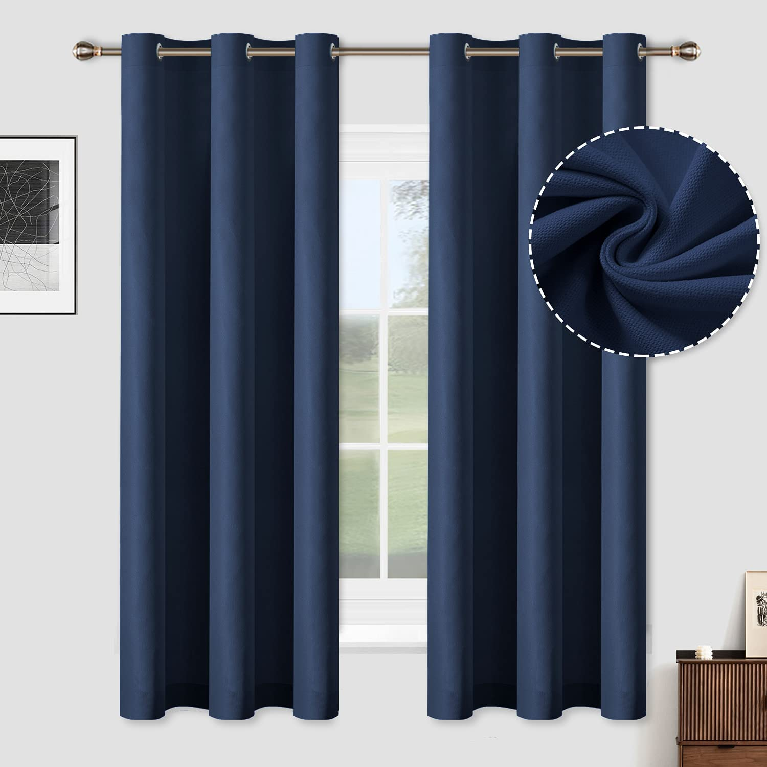 Over item Gorgeous handling ☆ ALLJOY Thick Window Blackout Curtains Long Bedroom63 Inches for