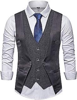 Showu Men's Classic Paisley Waistcoat Vest Suit Set Double Breasted Slim Fit Formal Wedding Business Vest