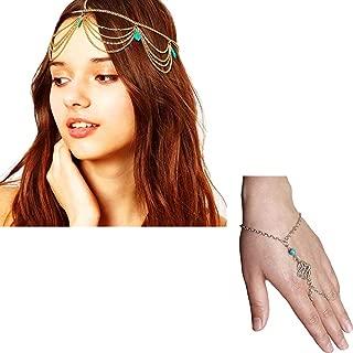 Turquoise Hair Headband & Boho Crystal Bracelet, Boho Auspicious Bracelet, Gold Prom Head Chain Jewelry for Women or Girls