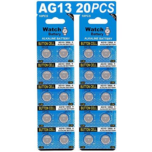 20 Stück AG13 LR44 1.5V Alkaline Knopfzelle Batterien ohne Quecksilber (357/357A/L1154/A76/GPA76)