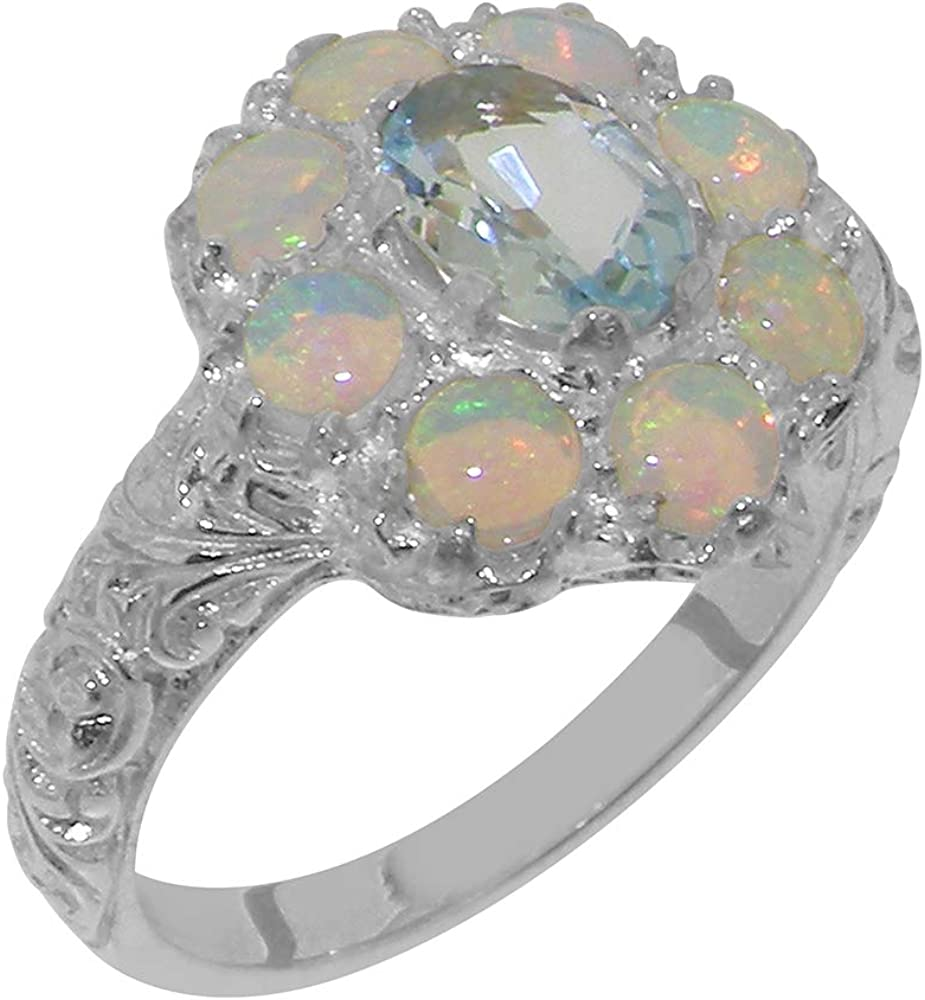 Solid 14k White Gold Natural Aquamarine Safety and trust Womens Cluster Rin Opal cheap