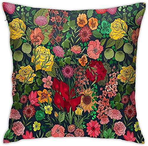 Kissenbezug, Chintz Garden in Juicy Florals Throw Kissenbezug Moderne Kissenbezug Quadratische Kissenbezug Dekoration für Schlafsofa Stuhl Auto 18 * 18 Zoll