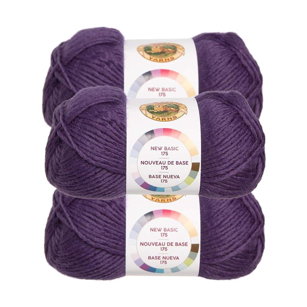 Lion Brand (3 Pack) New Basic Acrylic & Wool Soft Eggplant Purple Yarn for Knitting Crocheting Medium #4