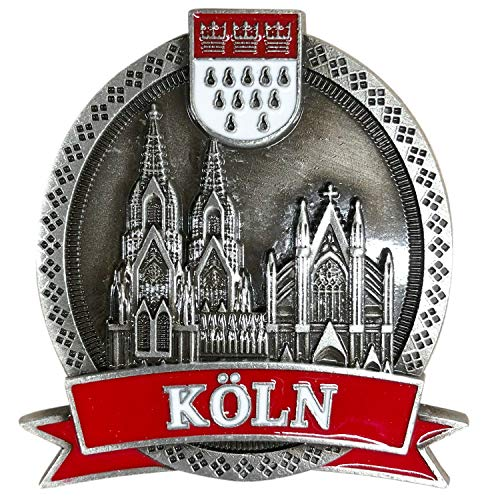 3forCologne Kühlschrankmagnet aus Metall, Kölner Dom rund Magnet stark, als Deko für Kühlschrank Magnettafel Magnetwand, in Silber