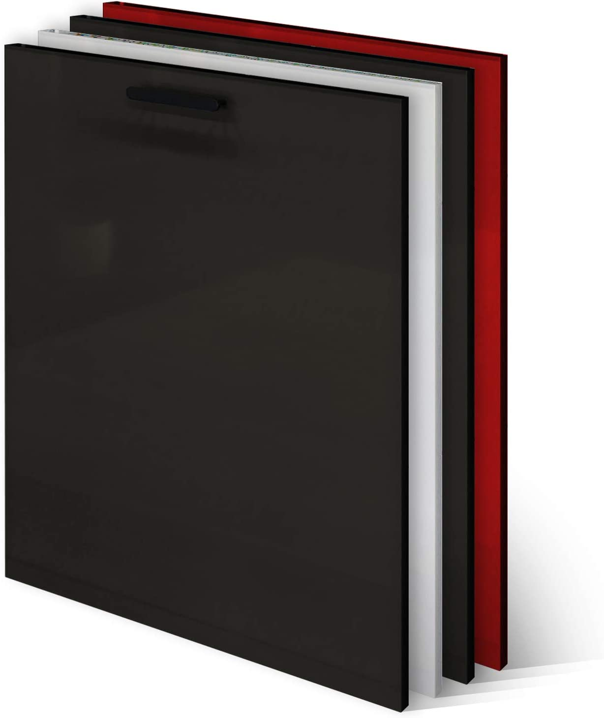 KLEMP Panel frontal para lavavajillas, 594 x 565 mm, negro, panel para lavavajillas totalmente integrado