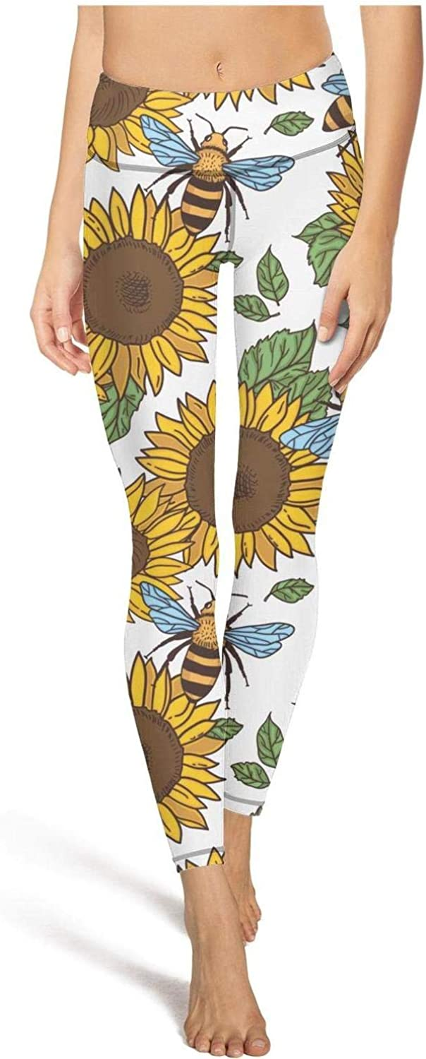 Cute Womens High Waisted Yoga Pants Sunflowers And Bees Laborious Training Pants