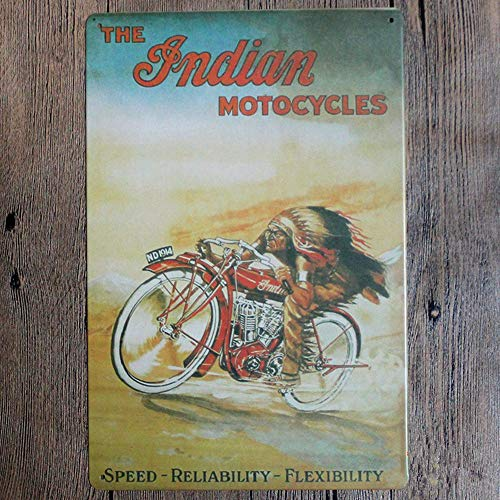 The Indian Motorcycles Speed Reliability Flexibility Collectible Wall Art Metal Sign 12' x 8'