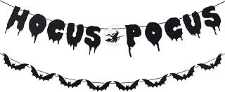 Hocus Pocus Banner Black Glitter, Halloween Scary Bats Garland Banner, Halloween Party Decorations Indoor,Halloween Haunte...