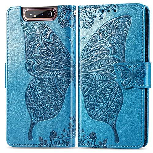 DIMDIM para el Estuche para Samsung Galaxy A80 / A90, Estuche de Piel sintética con Estampado de Mariposa con los titulares de la Tarjeta y Cierre magnético de Doble vía (Color : Blue)