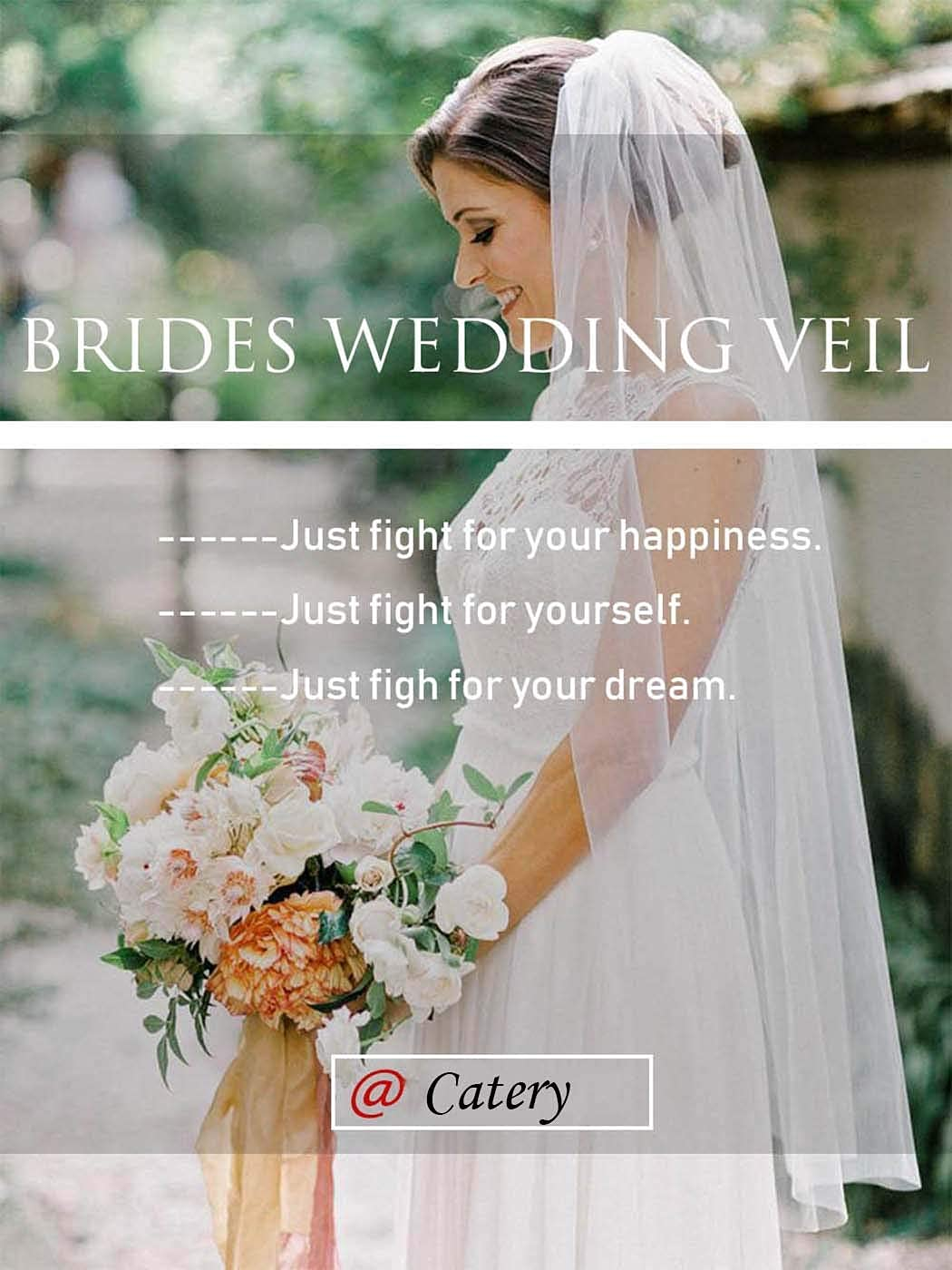 Catery Wedding Bridal Veils with Comb Ivory Flower Edge Tulle Veil Bride Hair Accessories for Brides 1 Tier Fingertip Length