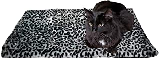 """Thermal Cat Pet Dog Warming Bed Mat - Grey, (Leopard Motif) 22"""" L x 19"""" W, by Downtown Pet Supply"""