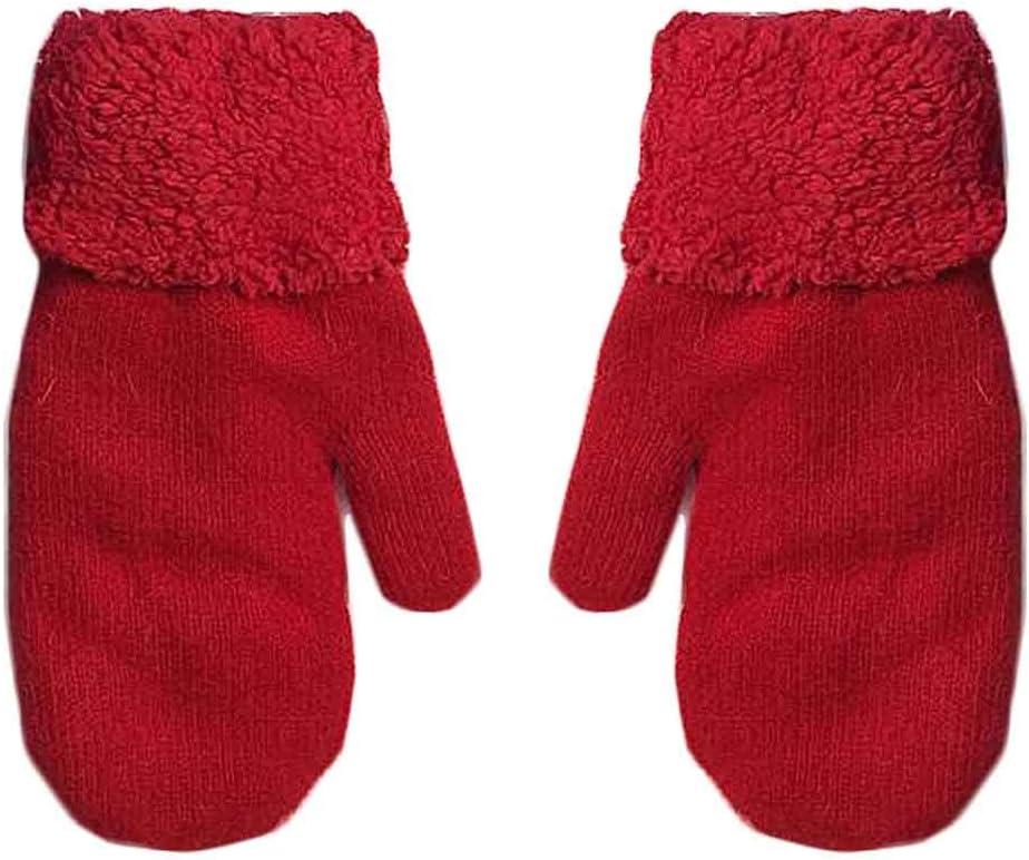 Panda Legends Womens Winter Gloves Warm Woolen Mittens Plush Lining Cold Weather Accessories, Red