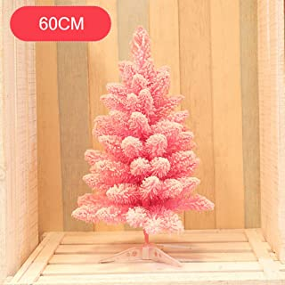 WZR Pink Snow Flocked Artificial Christmas Tree,2ft PVC Xmas Tree Spruce Hinged Plastic Stand Holiday Decoration for Indoor Outdoor-Pink 2ft