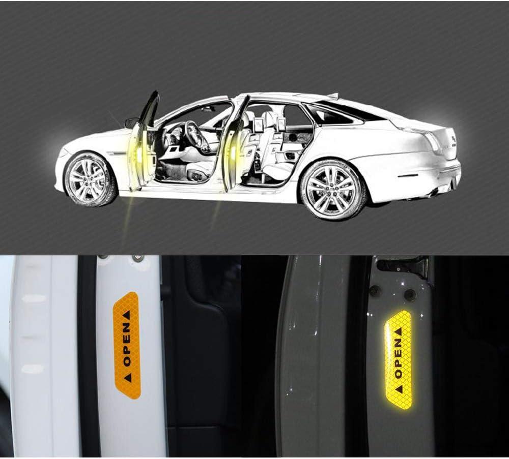 White 12 Pcs 3D Car Door Handle Paint Scratch Protector Sticker Car Door Open Reflective Warning Stickers Safety Reflective Strips Stickers Scratch Cover Guard Protective Universal