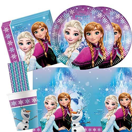 spielum 45-teiliges Party Set Frozen die Eiskönigin Nordlichter - Teller Pappbecher Servietten Tischdecke Trinkhalme für 8 Kinder