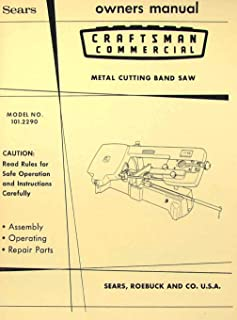 Craftsman 101.2290 Metal Cutting Band Saw Instructions and Parts Owner's Manual