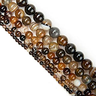 ZRBC Bulk Wholesale Assorted Natural Round Full Strand Healing Gem Semi Precious Stone Beads for DIY Bracelet Necklace Jewelry Making (Color : Brown Striped Agate, Size : 8mm)