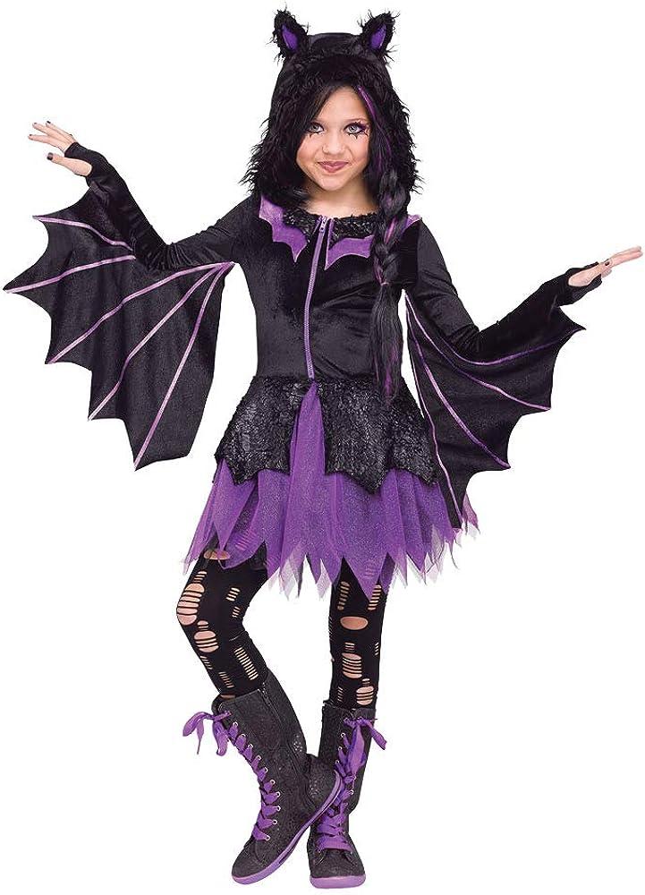 Child Night Flyer Max 86% OFF Hooded Dress Purple Popular Bat Skirt Glitter Hallowee
