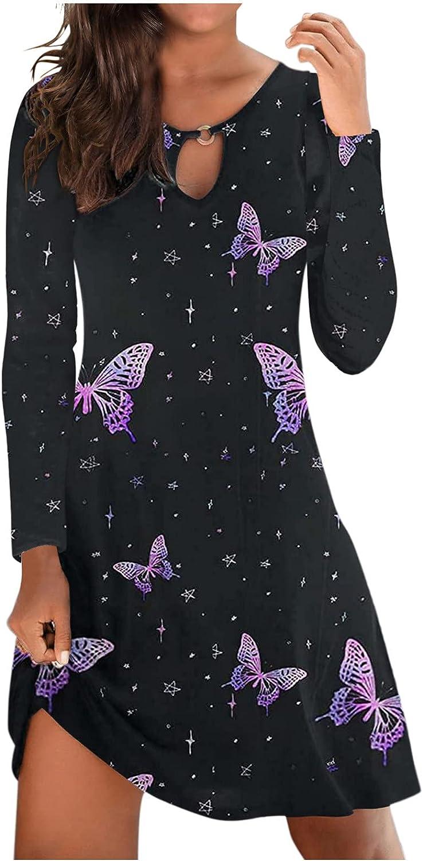 Hemlock Women Long Sleeve Dress Stripe print Tunic Swing Dress Slim Work Dress Fall Autumn Dresses