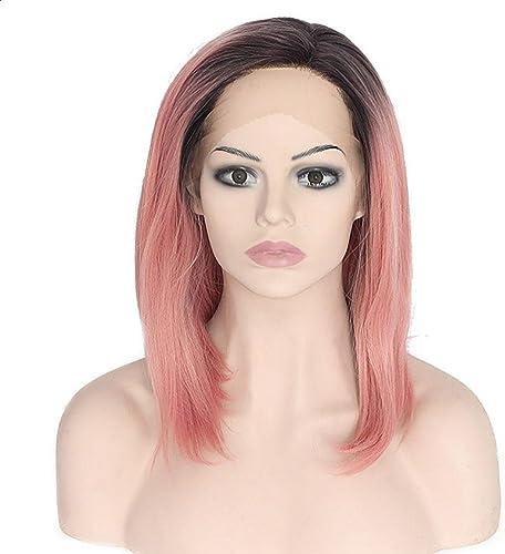 JIAFA 16 Zoll Frauen Perücke Synthetischen Ehemalige Spitze Kurzes glattes Haar Perücke Legt Rosa