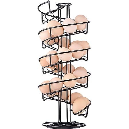 Toplife Distributeur Oeuf, Distributeur Oeuf Spirale Rangement Contient Environ 30-36 Oeufs, Support à Oeufs Peut Ranger et Marquer dans l'ordre - Noir