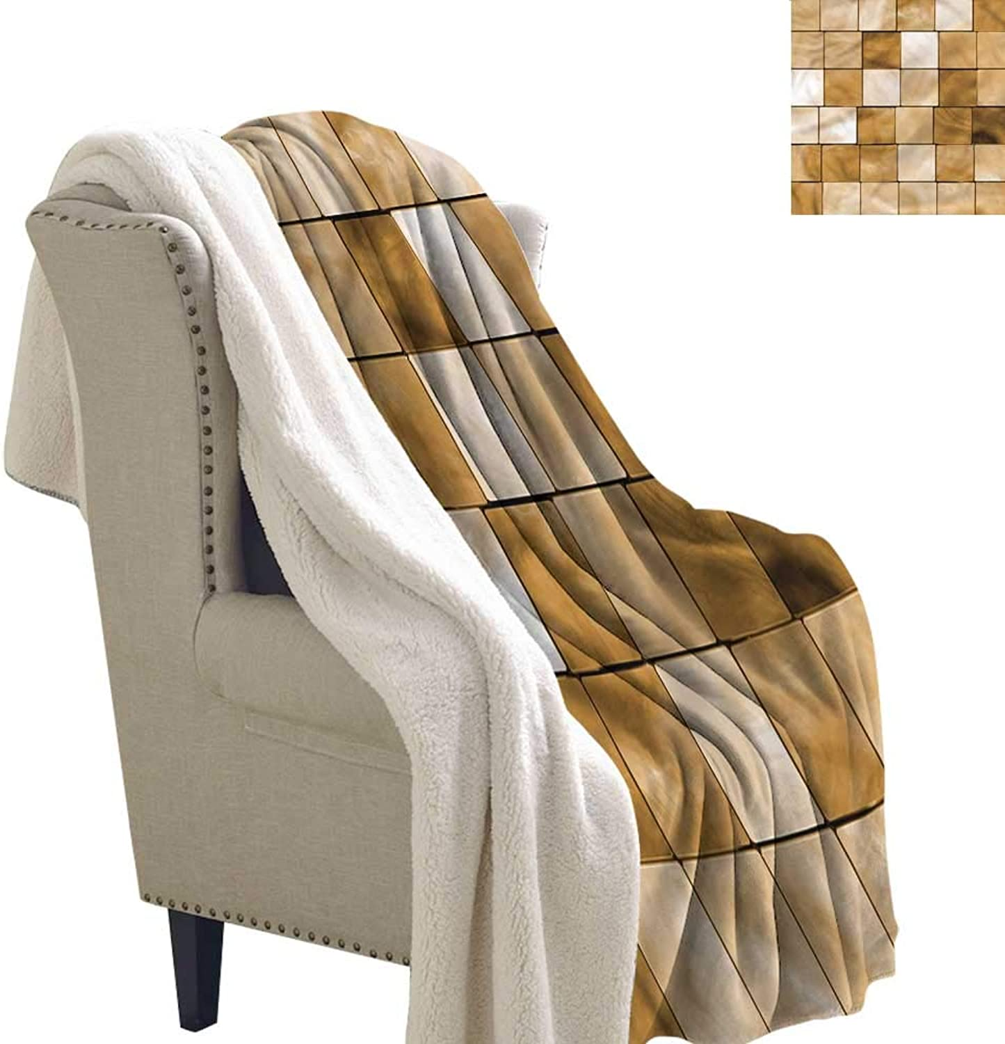 Beige Flannel Bed Blankets Wood Cubes Squares Mosaic Warm Breathable Comforter for Girls Kids Adults 60x32 Inch