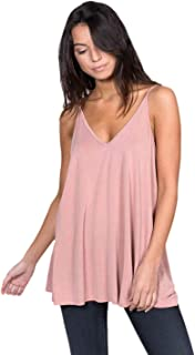 Alexander + David Womens Casual V-Neck Cupro Spaghetti Strap Open Back Loose Fit Flowy Tunic Top