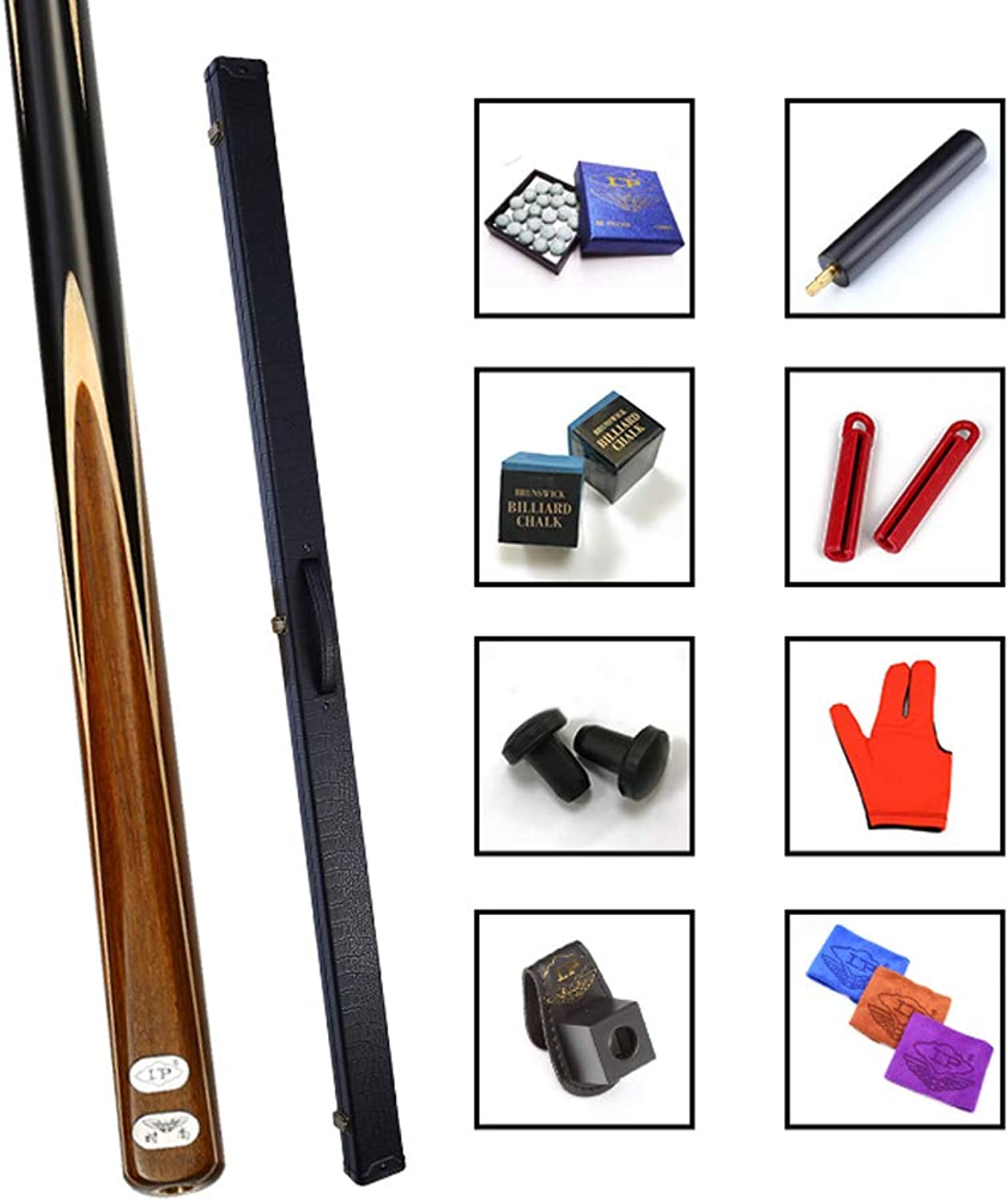 HETAO Pool Cues, Ash Shen Guibao Maple pinkwood Through Club Snooker CUE  Aluminum Leatherette CASE  Extension Indoor
