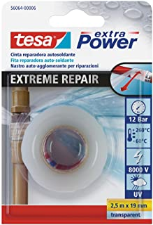 tesa 56064-00006-00 Cinta de reparación autosoldante Extreme Repair 2,5m x 19mm transparente,