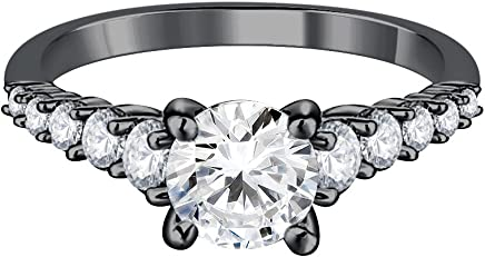 Silvernshine Jewels Solitaire W/Accents Engagement Ring 1.20Ct Lab Created Diamond 9ct Black Gold Finish