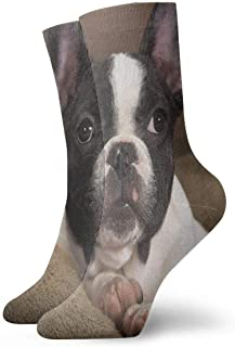 BEDKKJY, Calcetines tripulados Cute Pet Boston Terrier Dog Hot Unisex Casual Stocking Gift Sock Liquidación para niños