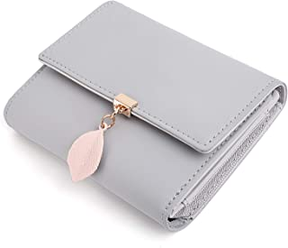 UTO Small Wallet for Women PU Leather Leaf Pendant Card Holder Organizer Zipper Coin Purse