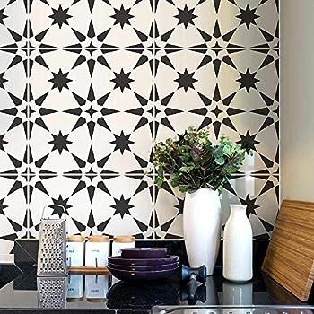 Jewel Tile Stencil - Reusable Tile Stencil for Painting Floor - Tile Stencils for Easy Bathroom Makeover - Paint Your Old Tile and Save - Floor Stencil Design for DIY Tile  Medium Tile Stencil 8x8